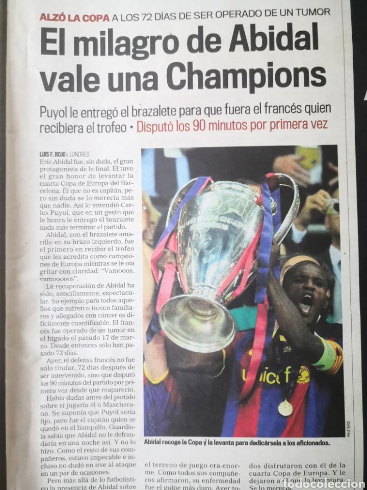 Coleccionismo deportivo: Diario Marca - 29 de mayo de 2011: FC Barcelona. Messi en portada levantando la Cuarta Champions - Foto 7 - 191545301