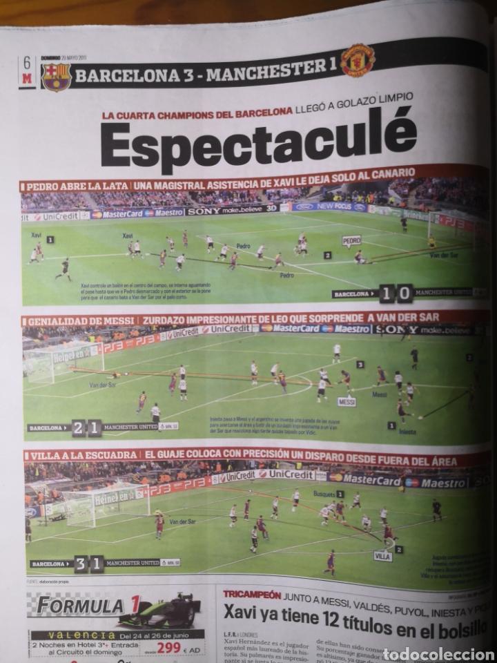 Coleccionismo deportivo: Diario Marca - 29 de mayo de 2011: FC Barcelona. Messi en portada levantando la Cuarta Champions - Foto 8 - 191545301