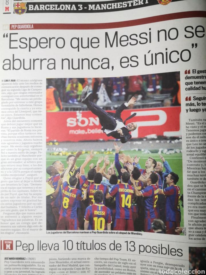 Coleccionismo deportivo: Diario Marca - 29 de mayo de 2011: FC Barcelona. Messi en portada levantando la Cuarta Champions - Foto 9 - 191545301