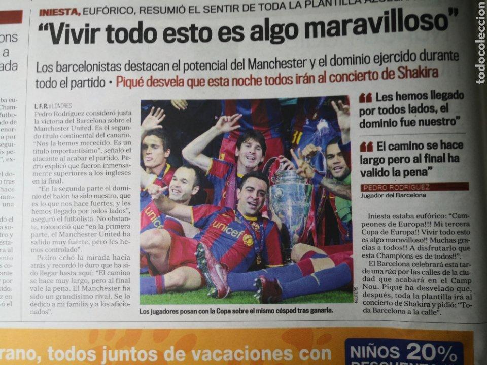 Coleccionismo deportivo: Diario Marca - 29 de mayo de 2011: FC Barcelona. Messi en portada levantando la Cuarta Champions - Foto 10 - 191545301