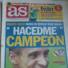 Coleccionismo deportivo: AS 14/6/1997 ROBERTO CARLOS. HACEDME CAMPEÓN. Lote 191746965