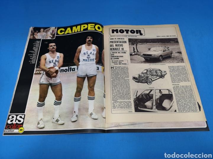 Coleccionismo deportivo: Revista AS COLOR NUM. 361. ¡YA ESTÁ! PÓSTER CENTRAL REAL MADRID DE BALONCESTO, CAMPEÓN DE EUROPA - Foto 2 - 193992695