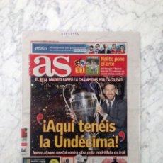 Coleccionismo deportivo: DIARIO AS - Nº 16466 - 30 MAYO 2016 - LA UNDÉCIMA REAL MADRID CAMPEÓN CHAMPIONS LEAGUE CELEBRACION. Lote 194219328