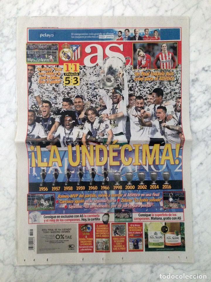 DIARIO AS - Nº 16465 - 29 MAYO 2016 - LA UNDÉCIMA REAL MADRID CAMPEÓN FINAL CHAMPIONS LEAGUE (Coleccionismo Deportivo - Revistas y Periódicos - As)