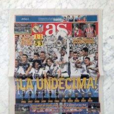 Coleccionismo deportivo: DIARIO AS - Nº 16465 - 29 MAYO 2016 - LA UNDÉCIMA REAL MADRID CAMPEÓN FINAL CHAMPIONS LEAGUE. Lote 194220310