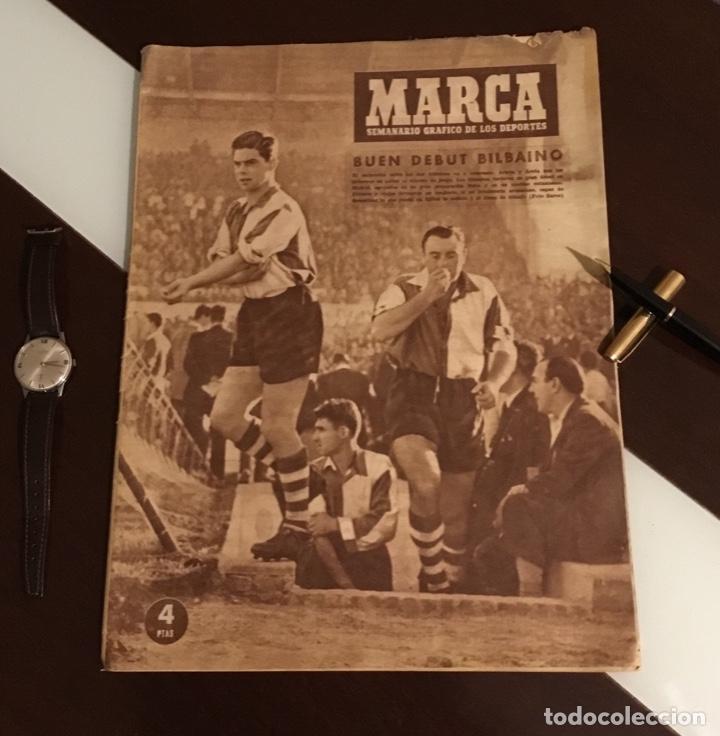 ANTIGUO PERIÓDICO MARCA ATHLETIC CLUB DE BILBAO 1954 GRAN PREMIO MOTOCICLISMO ESPAÑA (Coleccionismo Deportivo - Revistas y Periódicos - Marca)