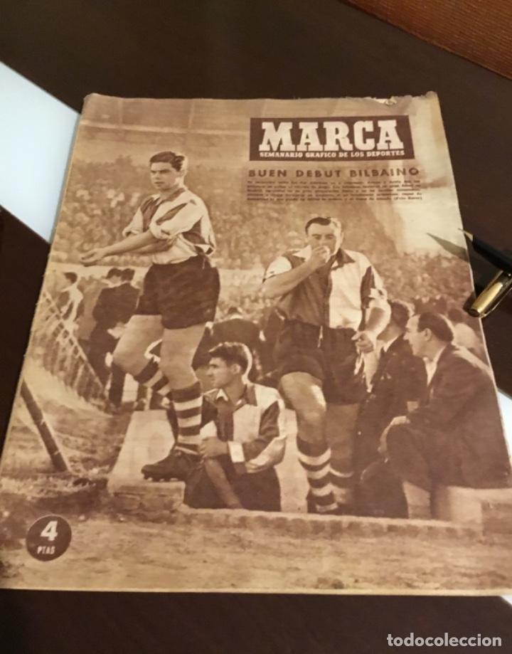 Coleccionismo deportivo: Antiguo periódico marca Athletic club de Bilbao 1954 gran Premio motociclismo España - Foto 2 - 194239247