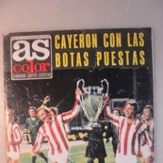 Coleccionismo deportivo: REVISTA AS COLOR Nº 157, 21 MAYO 1974. AT MADRID, CAYERON CON LAS BOTAS PUESTAS. POSTER HAITI. Lote 194651500