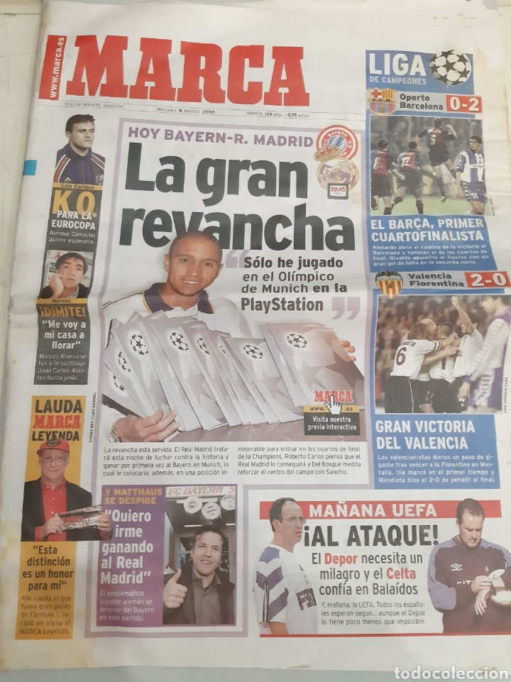 2000 MARCA 8 MARZO BAYERN.R.MADRID REVANCHA ROBERTO CARLOS (Coleccionismo Deportivo - Revistas y Periódicos - Marca)