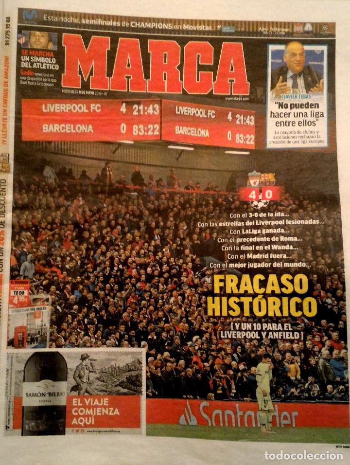 PERIODICO MARCA BARCELONA ELIMINADO POR LIVERPOOL CHAMPIONS 2019 (Coleccionismo Deportivo - Revistas y Periódicos - Marca)