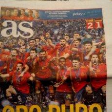 Coleccionismo deportivo: PERIODICO AS ESPAÑA CAMPEONA EUROPA SUB 21 2019. Lote 194890281