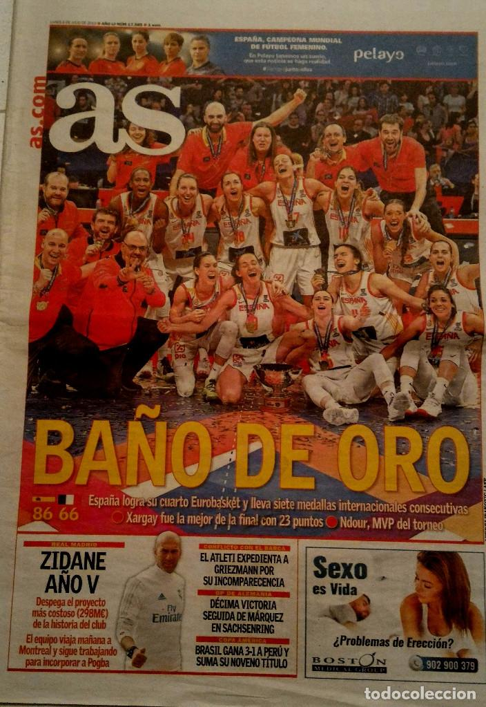 PERIODICO AS ESPAÑA CAMPEON EUROPA BALONCESTO FEMENINO 2019 (Coleccionismo Deportivo - Revistas y Periódicos - As)