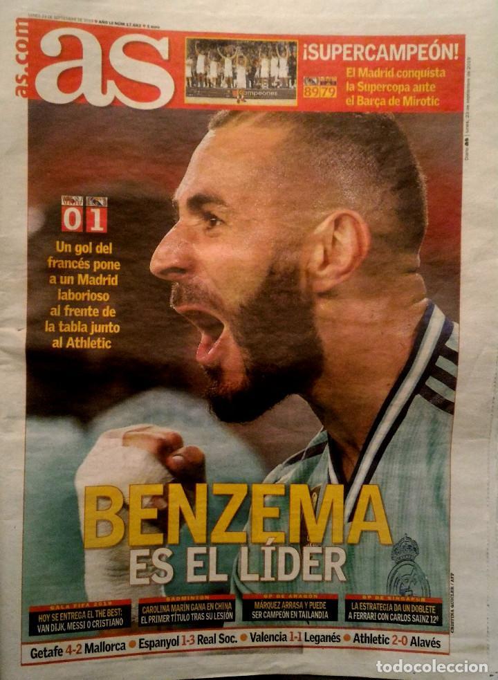 PERIODICO AS REAL MADRID CAMPEON SUPERCOPA BALONCESTO 2019 (Coleccionismo Deportivo - Revistas y Periódicos - As)