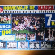 Coleccionismo deportivo: POSTER REAL MADRID CAMPEÓN SÉPTIMA 7 VECES REY OBSEQUIO DIARIO AS 1998. Lote 195060038