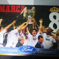 Coleccionismo deportivo: POSTER GIGANTE REAL MADRID CAMPEÓN OCTAVA COPA EUROPA 1999/2000. Lote 195060050