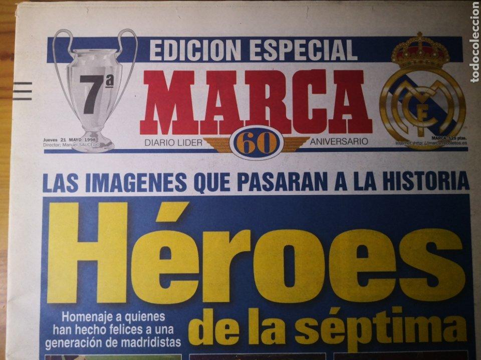 Coleccionismo deportivo: HISTÓRICO DIARIO MARCA HEROES DE LA SÉPTIMA REAL MADRID 21 MAYO 1998 - Foto 2 - 195060181