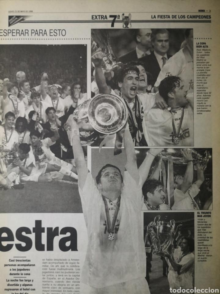 Coleccionismo deportivo: HISTÓRICO DIARIO MARCA HEROES DE LA SÉPTIMA REAL MADRID 21 MAYO 1998 - Foto 4 - 195060181