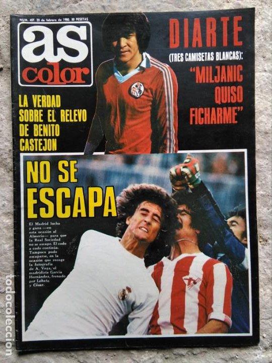 Coleccionismo deportivo: AS COLOR 457 POSTER UNIÓN POPULAR LANGREO Y RECREATIVO DE HUELVA - Foto 2 - 195335895