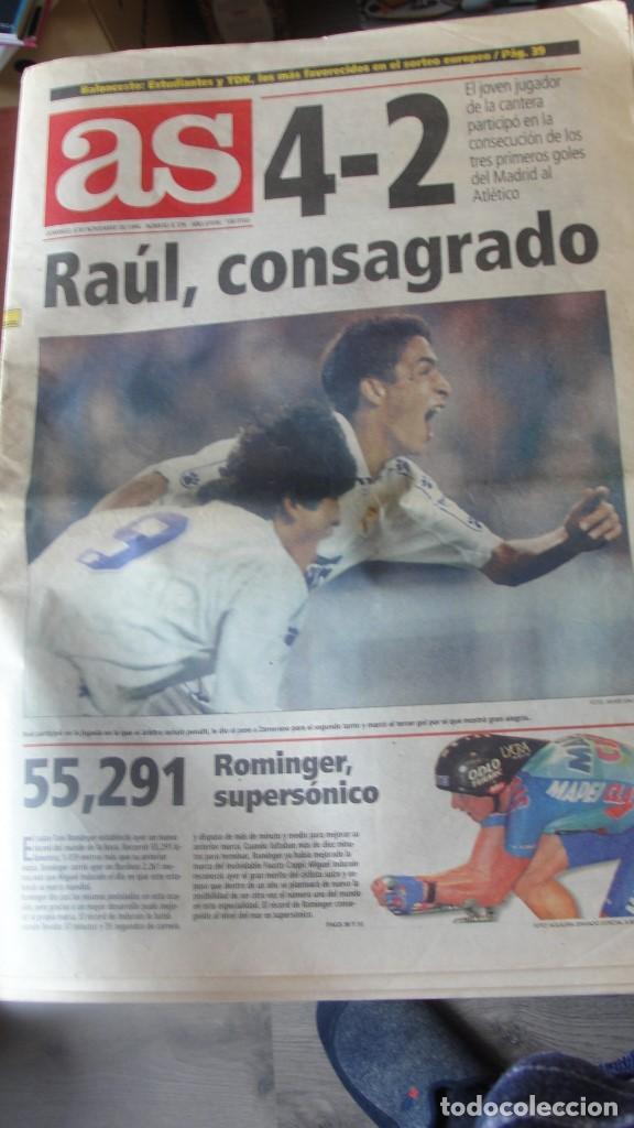 DIARIO AS 5 / 11 / 1994 DEBUT RAUL BERNABEU - 4 - 2 REAL MADRID ATLETICO - ENVIO GRATIS (Coleccionismo Deportivo - Revistas y Periódicos - As)
