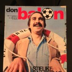 Coleccionismo deportivo: FÚTBOL DON BALÓN 87 - STIELIKE MADRID - CRUYFF - ESPANYOL - QUINI - LÓPEZ UFARTE REAL SOCIEDAD. Lote 195505752