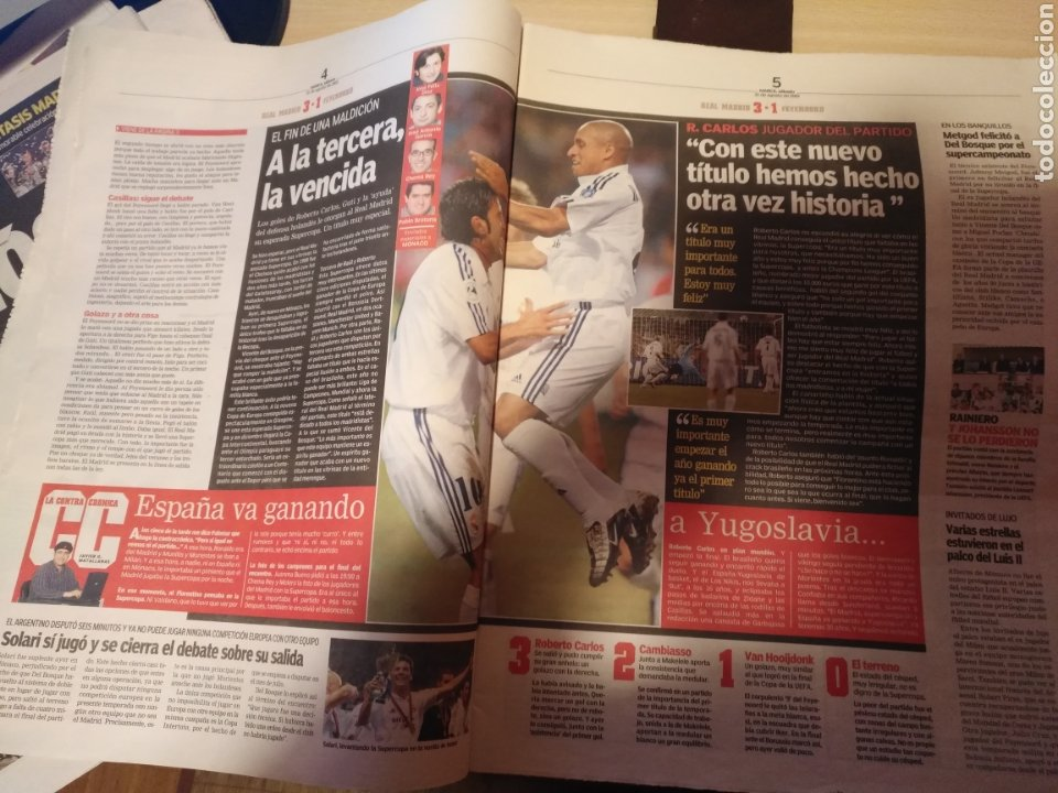Coleccionismo deportivo: DIARIO MARCA 31 AGOSTO 2002: EL REAL MADRID GANA LA SUPERCOPA DE EUROPA ANTE EL FEYENOORD - Foto 6 - 195588180