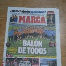 Coleccionismo deportivo: DIARIO MARCA 15 ENERO 2014-REAL MADRID BALON DE TODOS - CR7 - ANCELOTTI ATLETICO- SLAUGHTER. Lote 196002811