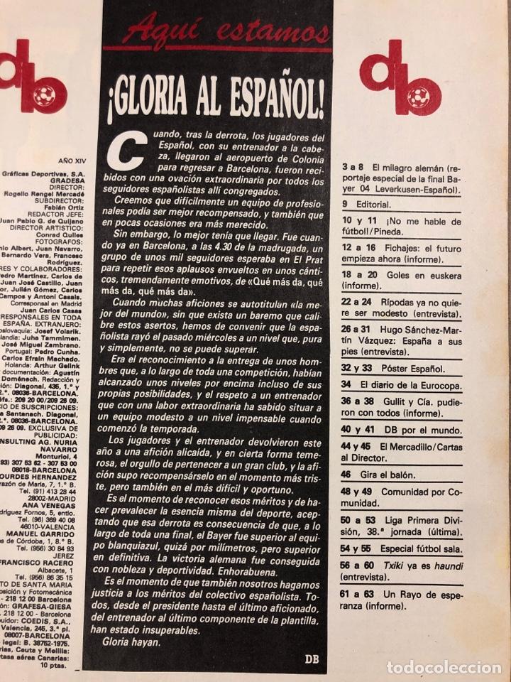 Coleccionismo deportivo: DON BALÓN N° 658 (1988). POSTER ESPAÑOL SUBCAMPEÓN COPA UEFA, FINAL UEFA, TXIKI BEGUIRISTAIN,... - Foto 3 - 196283021