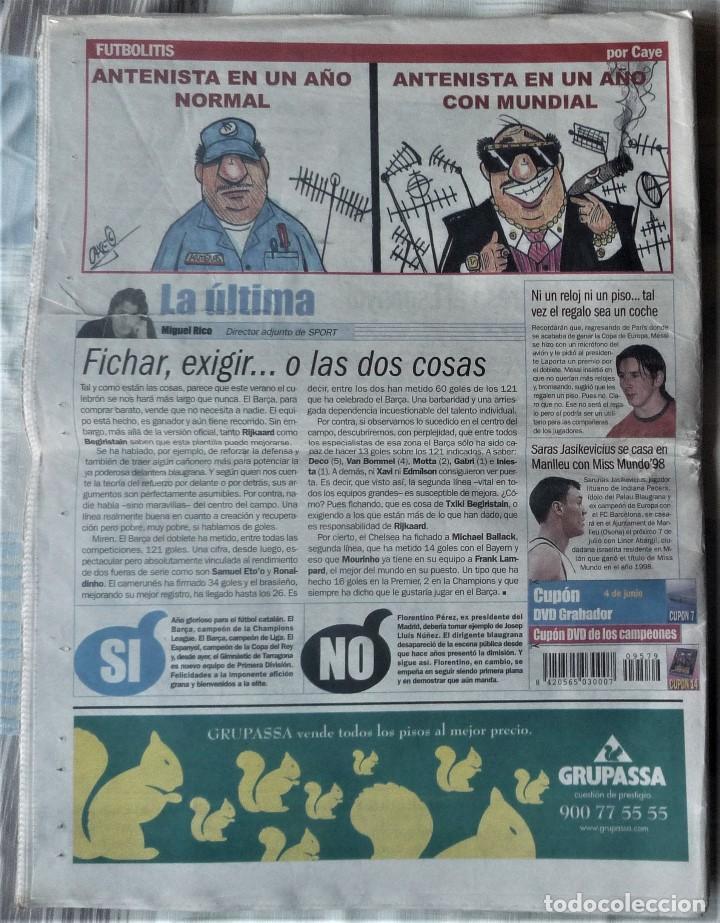 Coleccionismo deportivo: DIARIO SPORT DE 4 DE JUNIO DE 2006 - Foto 2 - 202582828