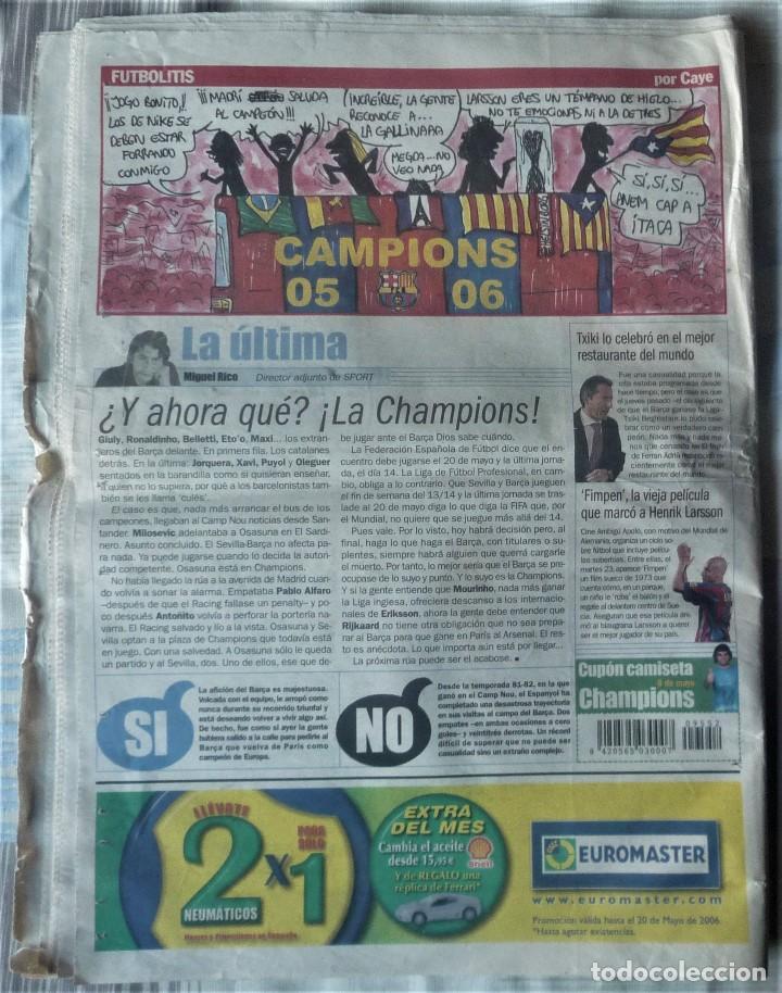 Coleccionismo deportivo: DIARIO SPORT DE 8 DE MAYO DE 2006 - Foto 2 - 202693458