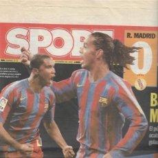 Coleccionismo deportivo: DIARIO SPORT. REAL MADRID 0-BARÇA 3. 20 DE NOVIEMBRE DE 2005. Lote 203068587
