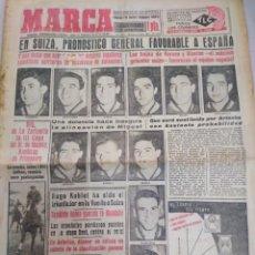 Colecionismo desportivo: MARCA-19/6/55-N 3914,EN SUIZA PRONÓSTICO FAVORABLE A ESPAÑA, EL. MADRID PARTE A FRANCIA. Lote 203449153