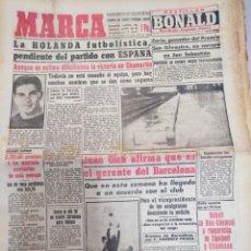 Coleccionismo deportivo: MARCA-23/1/57,N 4683,HOLANDA PENDIENTE DEL PARTIDO CON ESPAÑA,EL MADRID DEBE PLOCLAMARSE C. Lote 295026768
