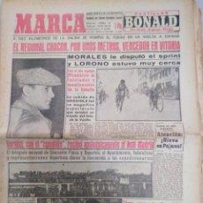 Collectionnisme sportif: PERIÓDICO MARCA-27/4/57,N 4763,CICLISMO MORALES LE DISPUTÓ EL ESPRINT Y LORONO ESTUVO MUY CERCA. Lote 203454353