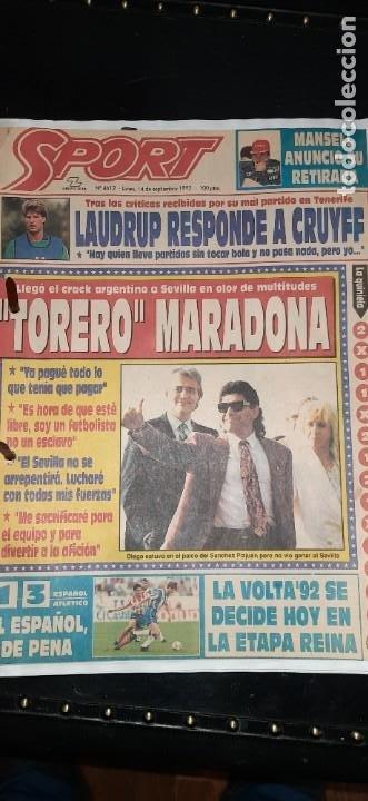 Coleccionismo deportivo: Periódico Sport sobre MARADONA 1984/1992 (Recortes) - Foto 9 - 203940488