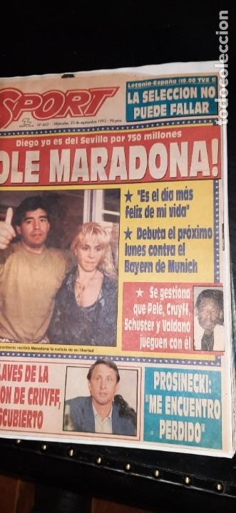 Coleccionismo deportivo: Periódico Sport sobre MARADONA 1984/1992 (Recortes) - Foto 11 - 203940488