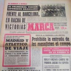Coleccionismo deportivo: MARCA-6/9/69,GANO EL VALENCIA 2-1 A LA PORTUGUESA,EL PALMEIRAS-BARCELONA,HOMENAJE HOLIVELL. Lote 204002765