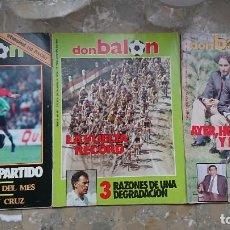 Coleccionismo deportivo: LOTE 3 REVISTAS DON BALON NUMEROS 490 , 496 Y 497 1985 ESPECIAL SPORTING GIJON CICLISMO VUELTA 85. Lote 204075761
