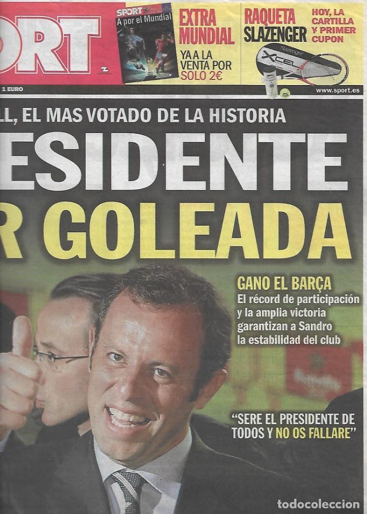 ROSELL, PRESIDENTE POR GOLEADA. DIARIO SPORT. 14 DE JUNIO DE 2010 (Coleccionismo Deportivo - Revistas y Periódicos - Sport)