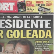 Coleccionismo deportivo: ROSELL, PRESIDENTE POR GOLEADA. DIARIO SPORT. 14 DE JUNIO DE 2010. Lote 204089006