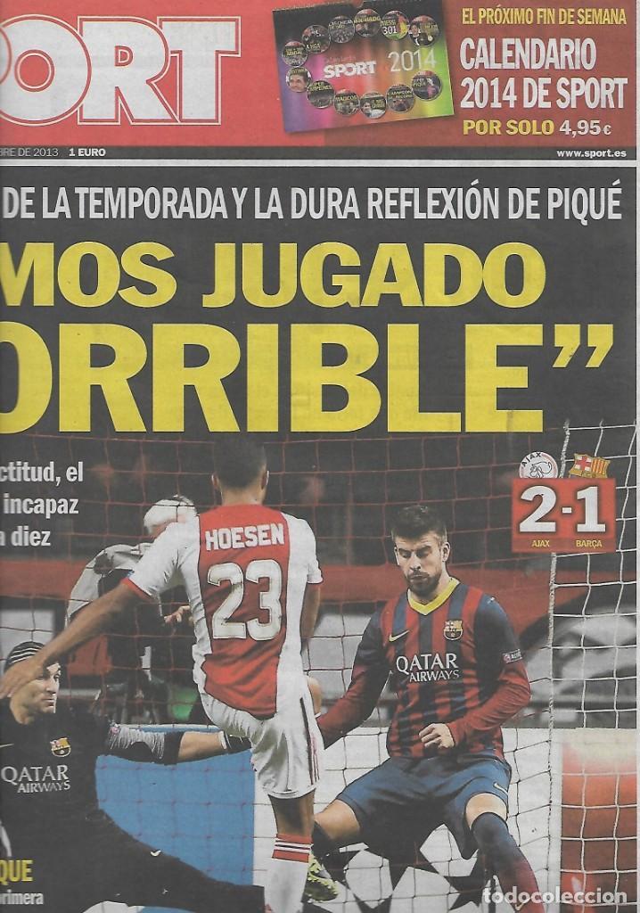 AJAX 2-BARÇA 1. DIARIO SPORT. 27 DE NOVIEMBRE DE 2013 (Coleccionismo Deportivo - Revistas y Periódicos - Sport)