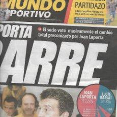 Coleccionismo deportivo: BARÇA: LAPORTA BARRE. DIARIO MUNDO DEPORTIVO. 16 DE JUNIO DE 2003. Lote 204089188