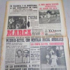 Coleccionismo deportivo: MARCA-2/6/63,VALENCIA Y BARCELONA A LA SEMI DE LA COPA,MADRID-BETIS, CON VENTAJA BÉTICA,DAVIS ENDERE. Lote 204235632