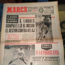 Coleccionismo deportivo: MARCA-17/7/70,CICLISMO LINARES ROMPIO EL EJE AL INICIAR EL CONTRA RELOJ,TENIS 4-1GANO ESPAÑA FRENTE. Lote 204428628