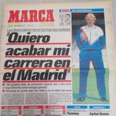 Colecionismo desportivo: MARCA-30/9/91,BEENHAKKER QUIERO ACABAR MI CARRERA EN EL MADRID,F1AYRTON SENNA TENDRÁ Q ESPERAR,MALLO. Lote 204680312