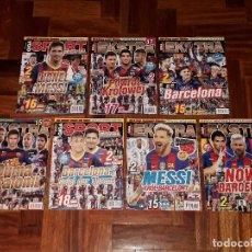 Coleccionismo deportivo: LOTE REVISTAS EXTRA GIGA SPORT POSTERS FC BARCELONA MESSI CHAMPIONS DON BALON. Lote 204719950