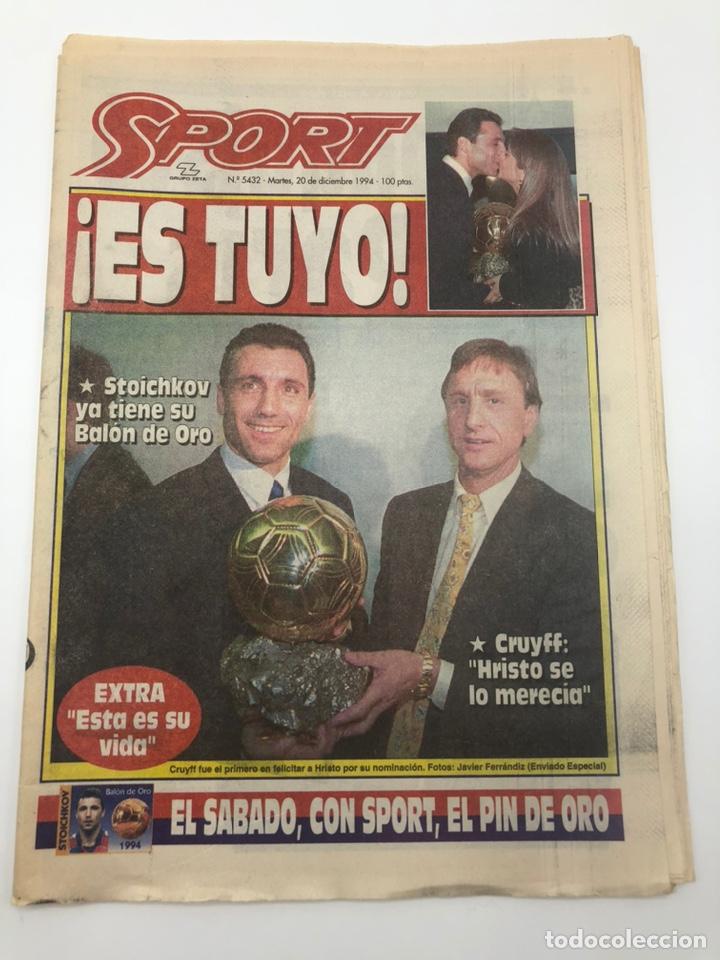 SPORT HRISTO STOICHKOV BALON DE ORO 20 DICIEMBRE 1994 FUTBOL FC BARCELONA BARÇA (Coleccionismo Deportivo - Revistas y Periódicos - Sport)
