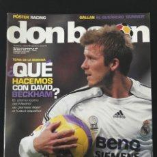 Coleccionismo deportivo: FÚTBOL DON BALÓN 1623 - PÓSTER RACING - BECKHAM - PUERTA SEVILLA - PUSKAS MADRID - GALLAS - ESPAÑA. Lote 205840077
