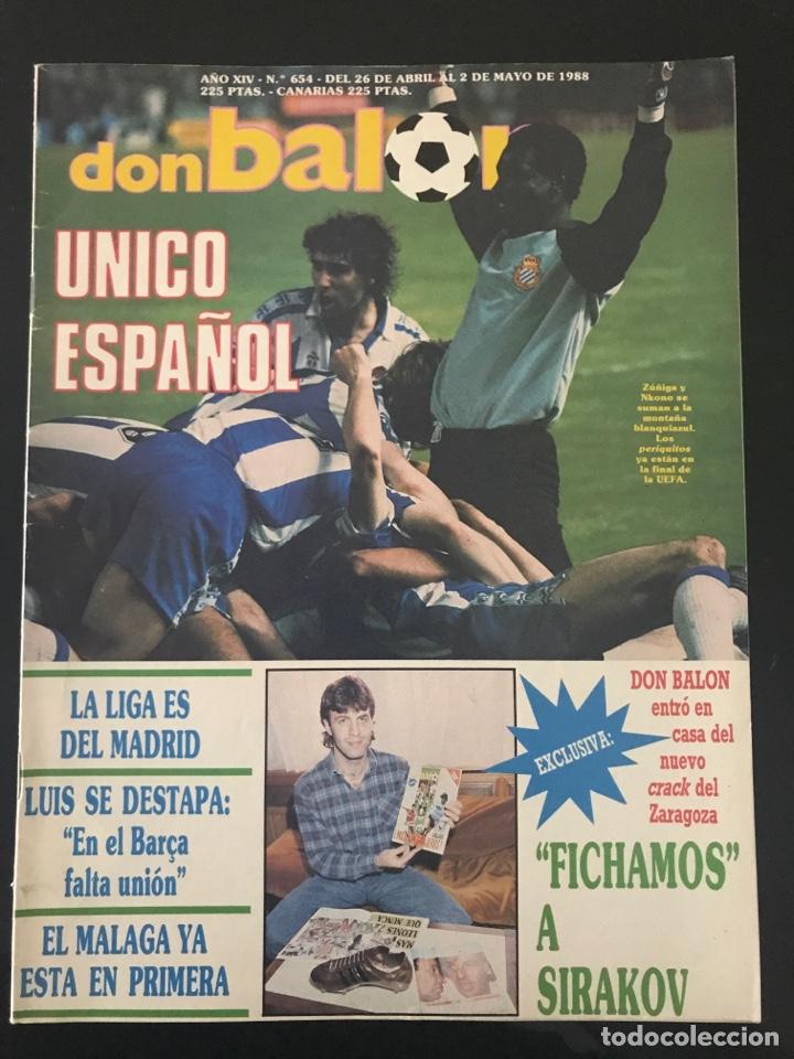 FÚTBOL DON BALÓN 654 - ESPANYOL UEFA - ZARAGOZA SIRAKOV - LUIS ARAGONÉS - MÁLAGA - COPAS EUROPEAS (Coleccionismo Deportivo - Revistas y Periódicos - Don Balón)
