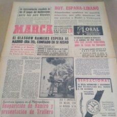 Coleccionismo deportivo: MARCA-20/9/63-EL GLASGOW RANGERS ESPERA AL MADRID CONFIADO EN SI MISMO,HOY ESPAÑA-LÍBANO. Lote 207002796
