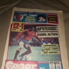 Colecionismo desportivo: DIARIO SPORT 22 DE DICIEMBRE DE 1983 .ESPAÑA 12 MALTA 1. APOTEOSIS . ESPAÑA EN PARIS .. Lote 207208680